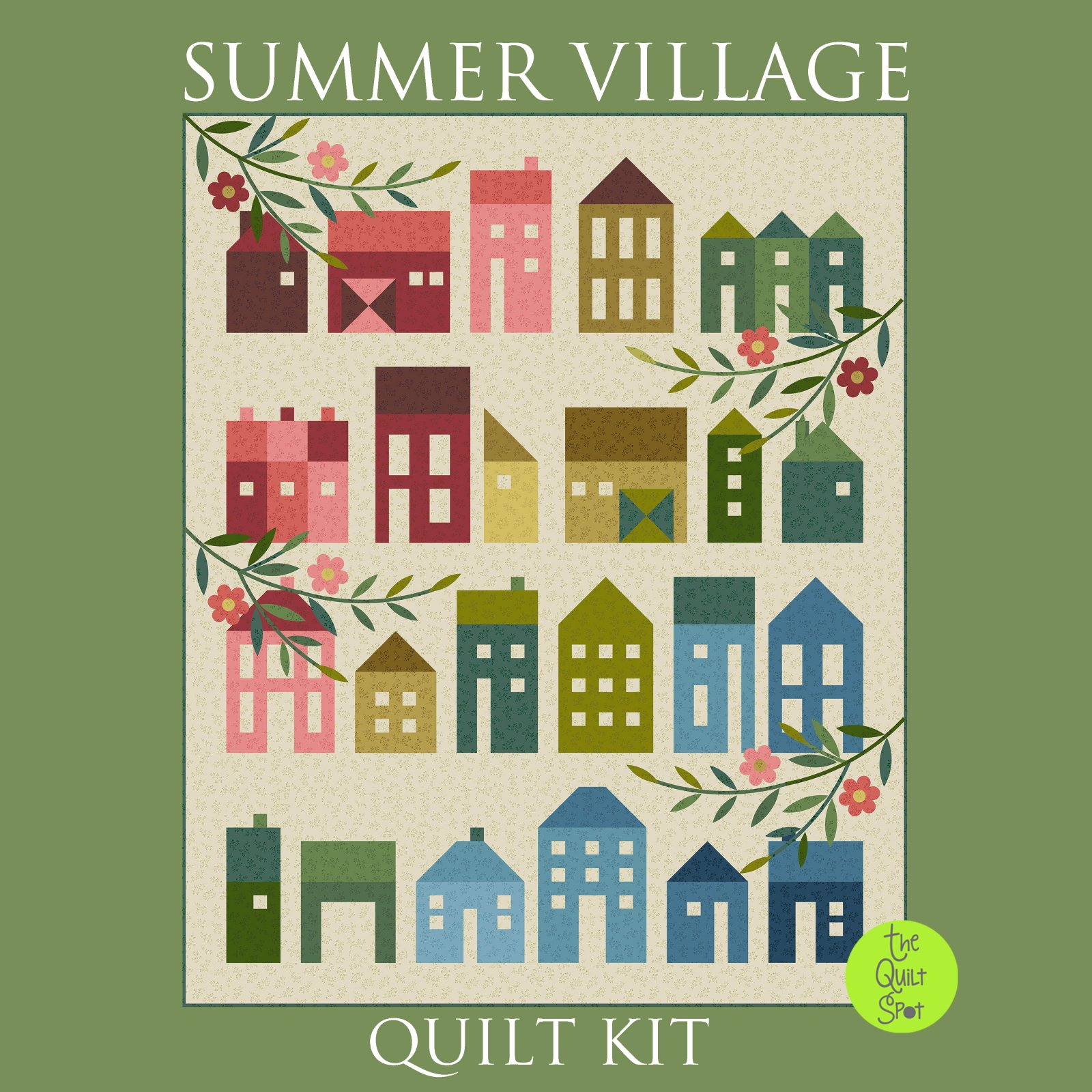Summer Village Quilt Kit - Olive Branch Fabric by Laundry Basket Quilts