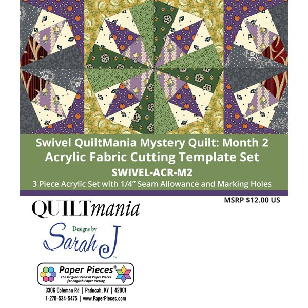 Swivel - Quilt Mania Mystery Quilt 2020 1/4 Acrylic Templates Part 2