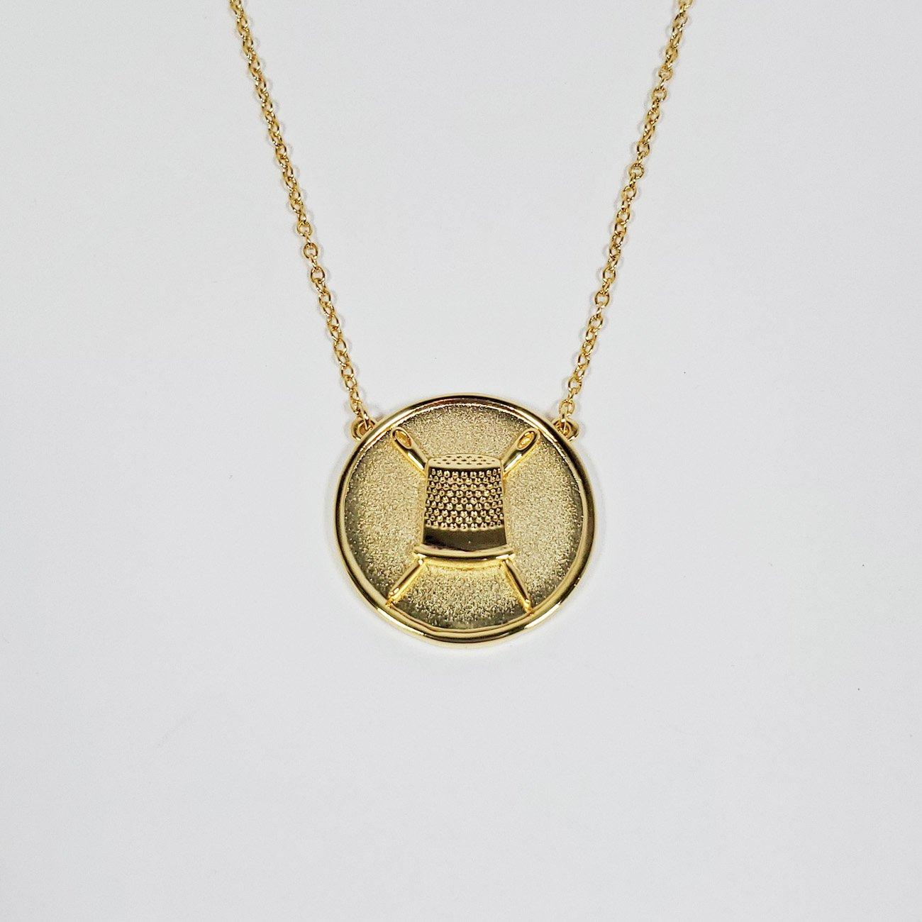 Thimble Coin Pendant Gold