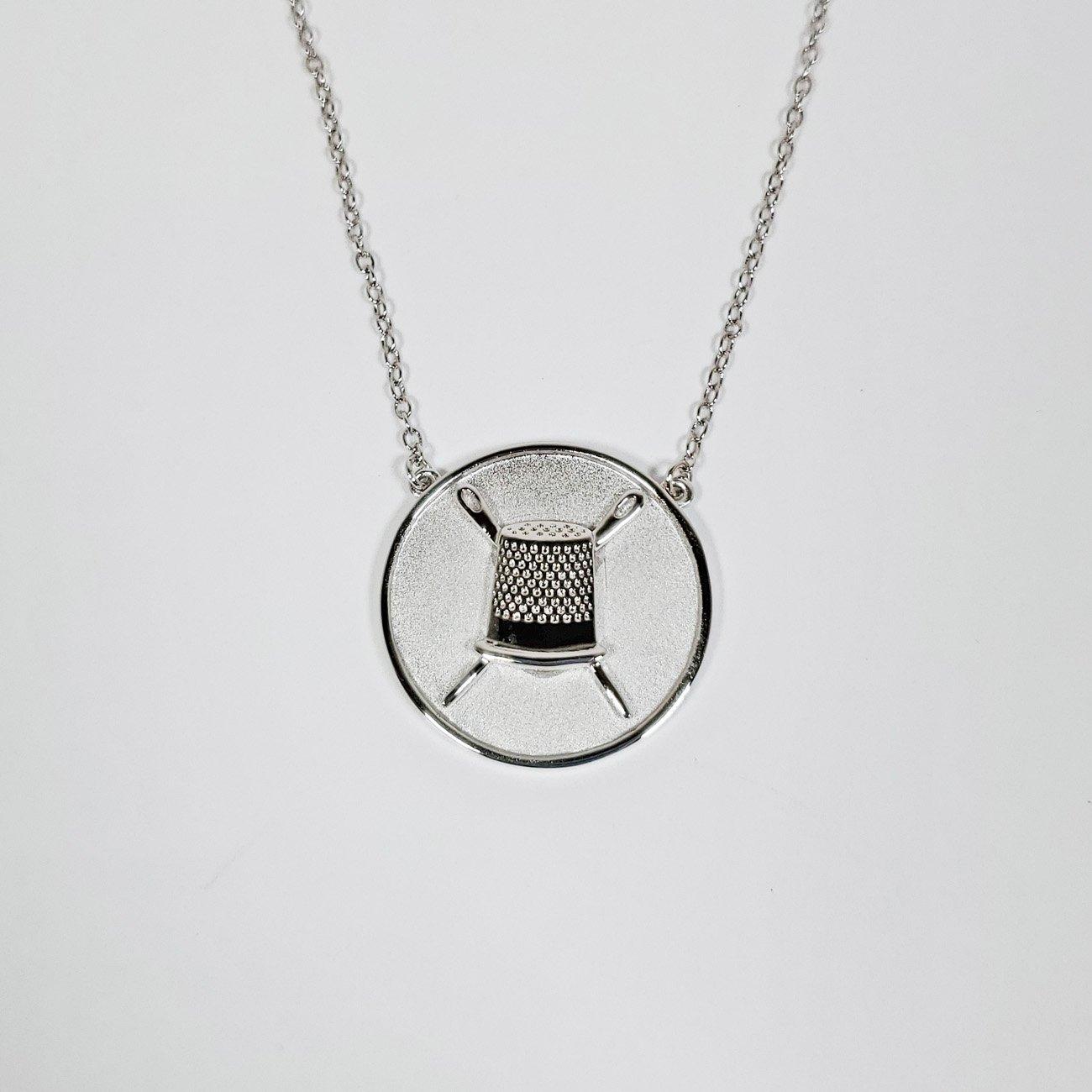 Thimble Coin Pendant Silver