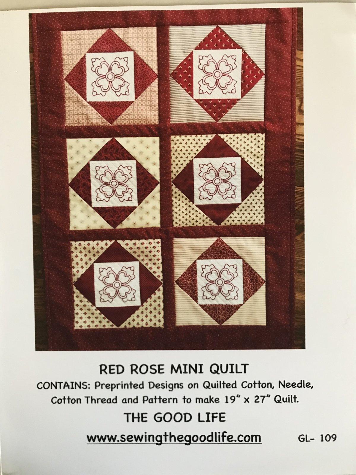 Red Rose Mini Quilt GL-109