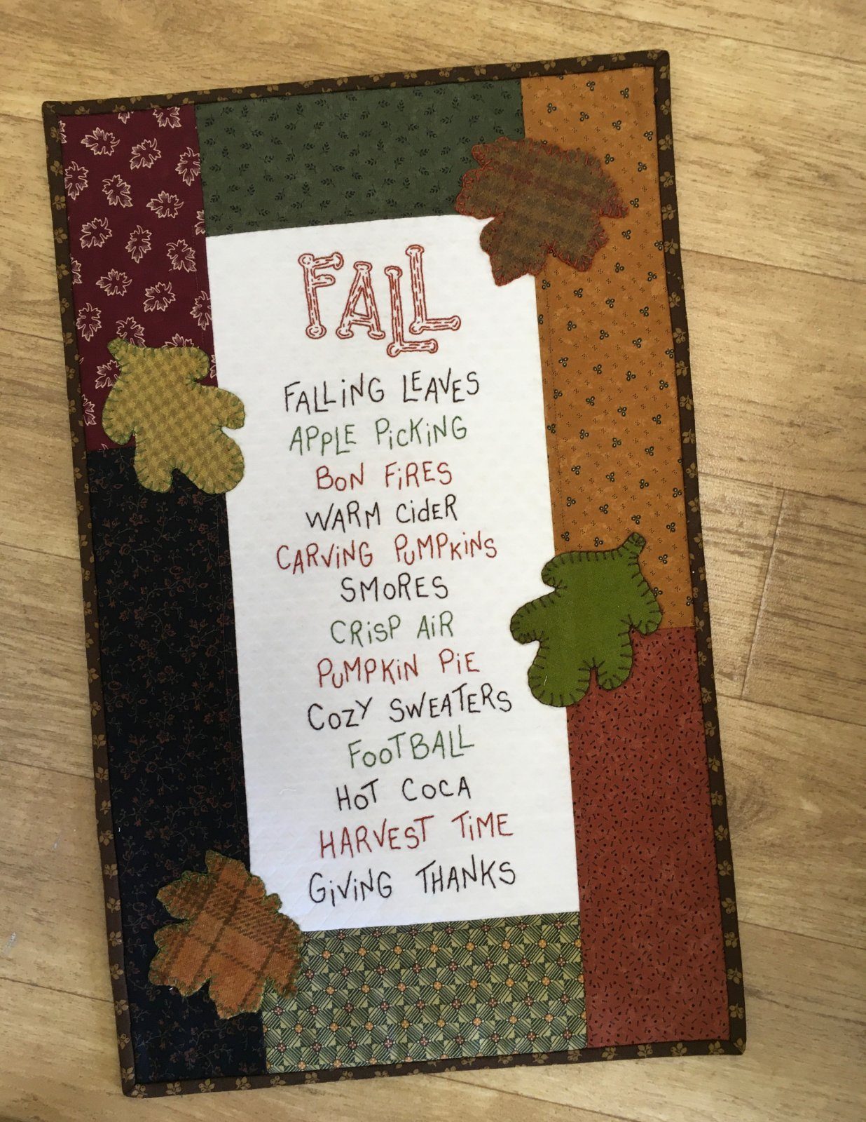 Fall Wall Hanging Embroidery Kit GL-15