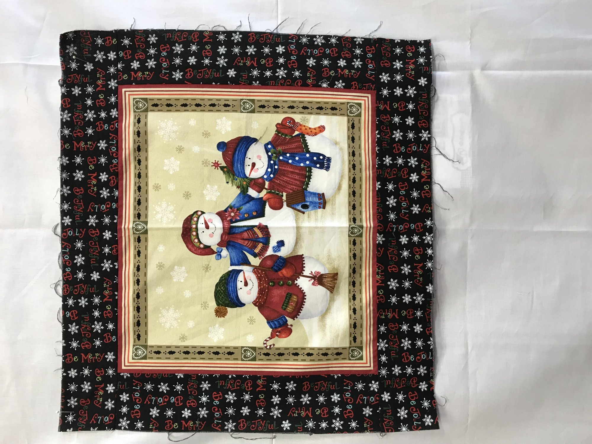 Snowman Wallhanging Sample 21 x 23