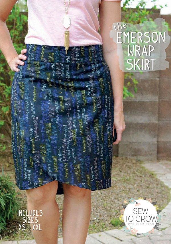 Emerson Wrap Skirt pattern XSM-XXL
