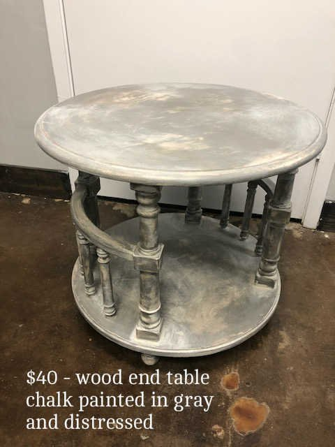 Wooden End Table in gray chalk paint