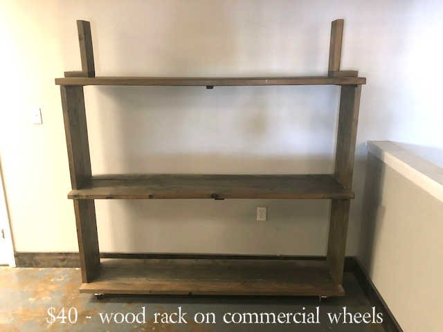 Wood shelving on commercial wheels