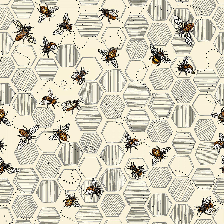 Bee Kind - Honeycomb & Bees (Paintbrush)