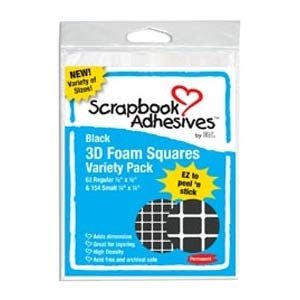 Pop Dots, 1/4 & 1/2 Squares, Permanent Foam Black, 217 pcs
