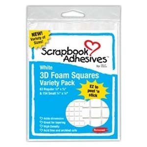 Pop Dots, 1/4 & 1/2 Squares, Permanent Foam White, 217 pcs