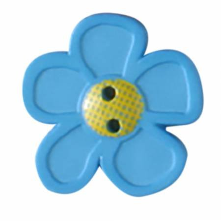 Blue Novelty Flower Button 28mm