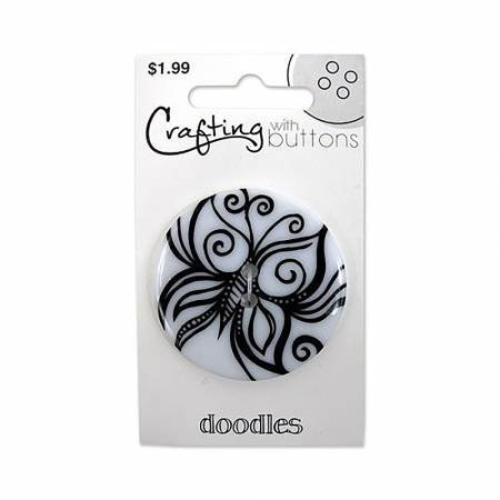 Doodle Button Butterfly 1-1/2in