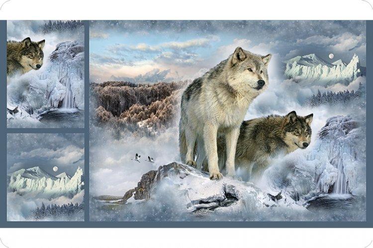 Digital Print Minky Cuddle Wolf Panel by Hoffman 60