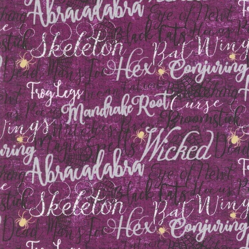 Elegantly Frightful - Spooky Script Purple Glitter  by Northcott