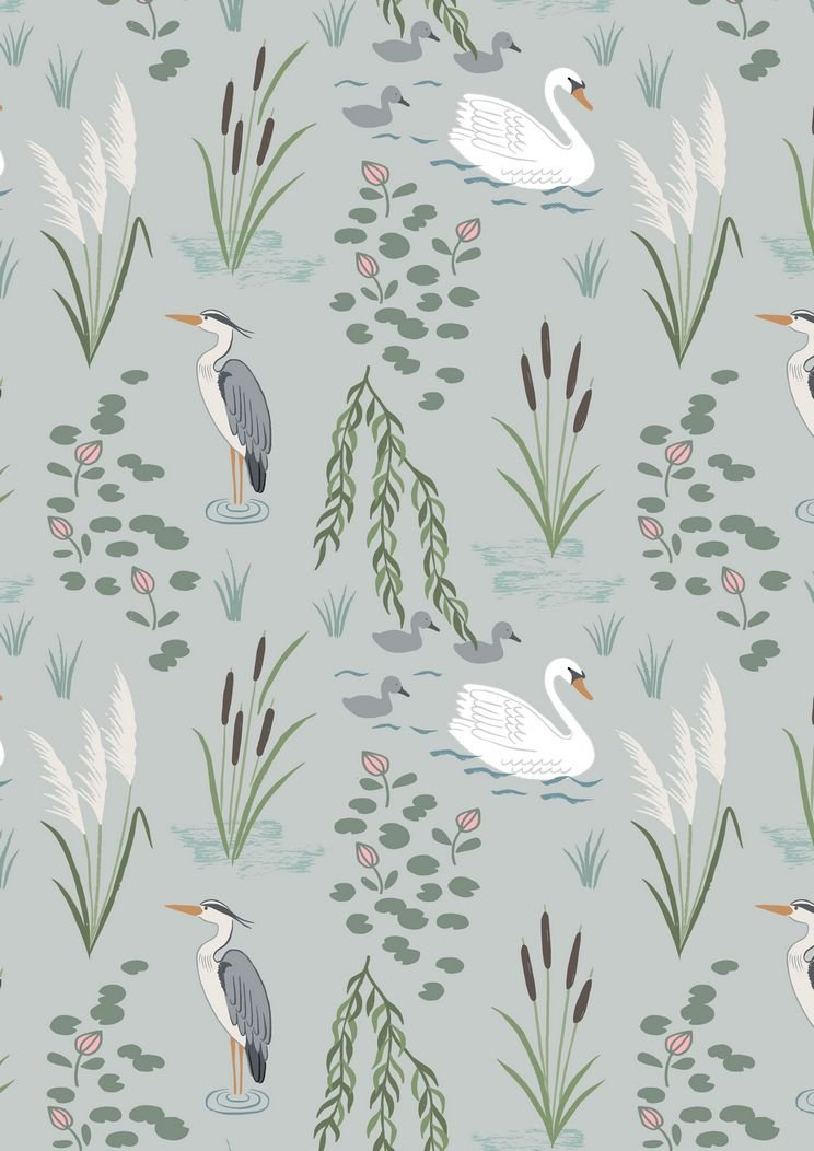 Down by the River - Swan and Heron Light Blue By Lewis & Irene