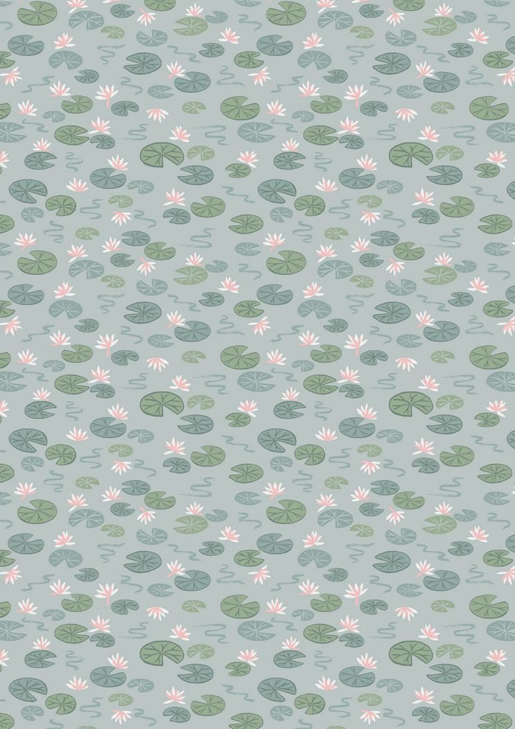 Down By The River - Lily Pads Light Blue  By Lewis & Irene