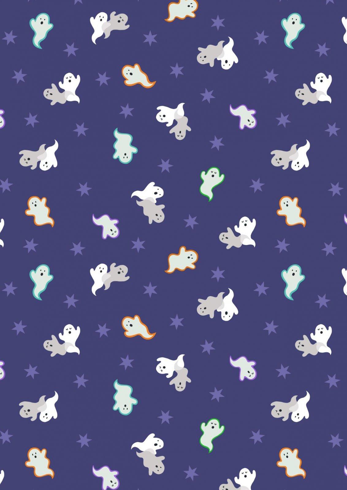Castle Spooky Glow - Ghosts on Deep Blue by Lewis & Irene Fabrics