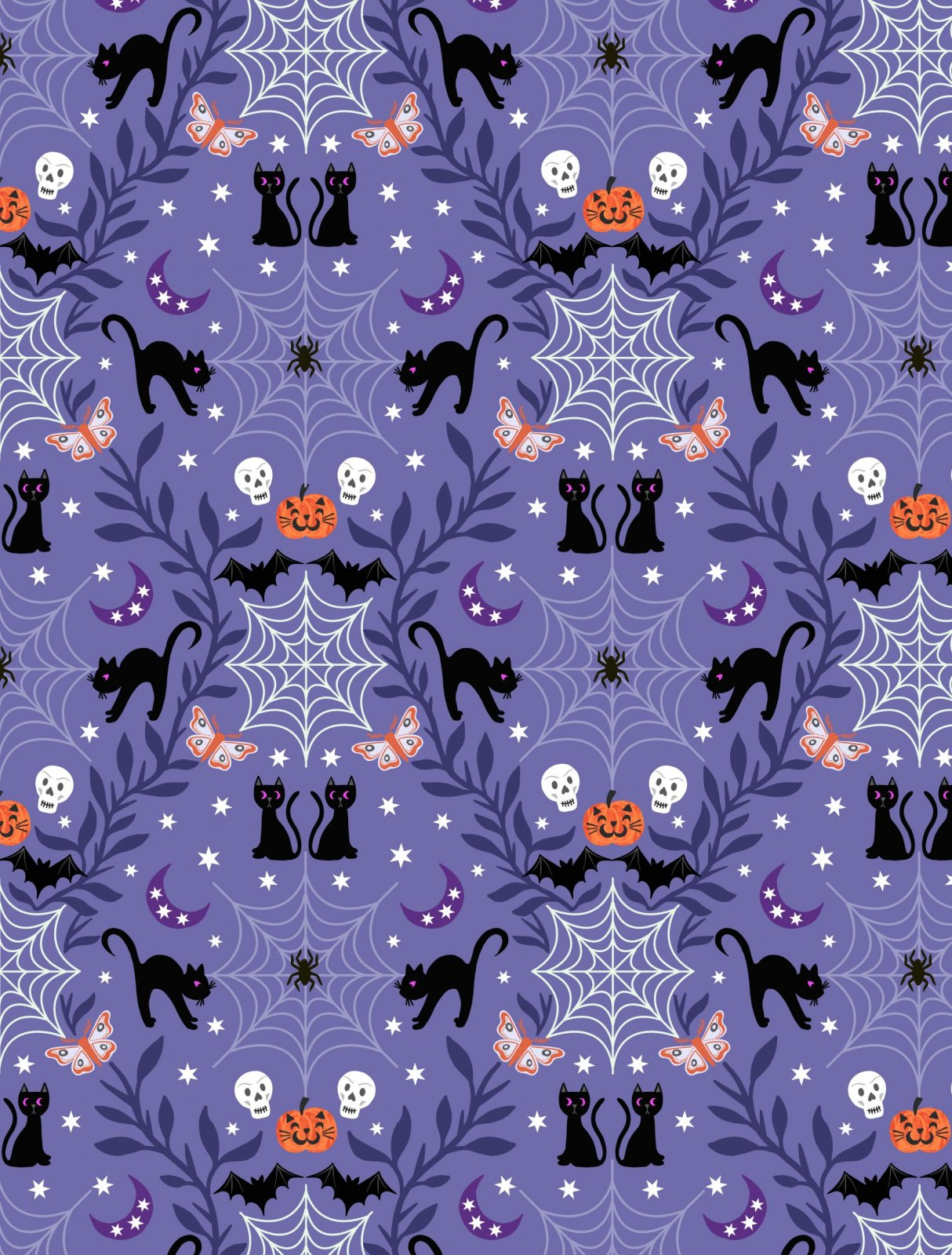 Castle Spooky Glow - Cats & Pumpkins on Purple by Lewis & Irene Fabrics