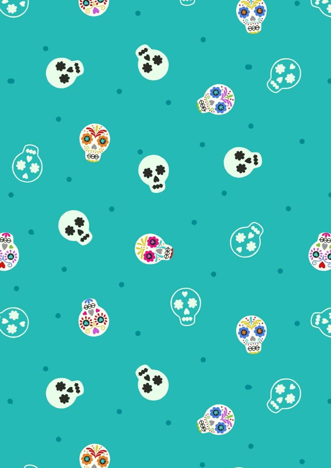 Small Things Glow - Sugar Skulls on Turquoise with Glow in the Dark by Lewis and Irene