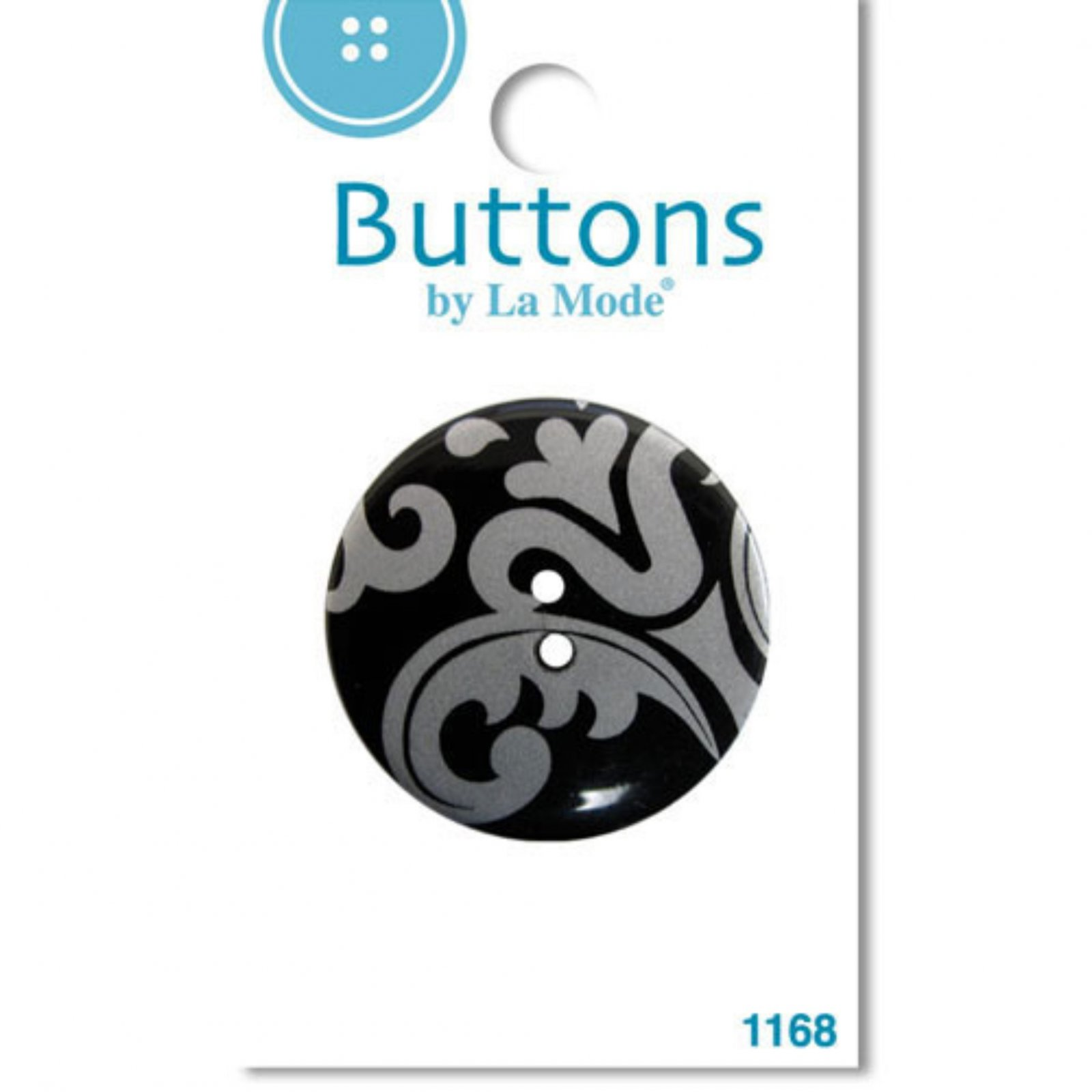 Damask Buttons by LaMode Silver on Black 1-3/8
