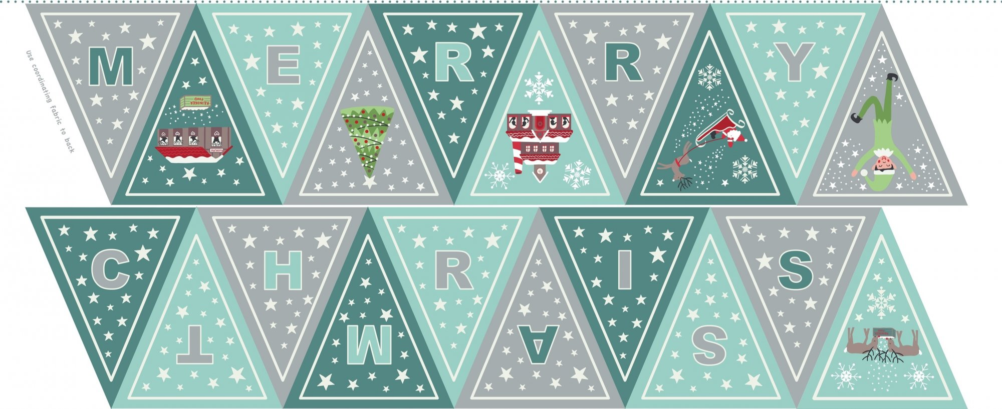 Christmas Glow - Bunting Teal by Lewis & Irene