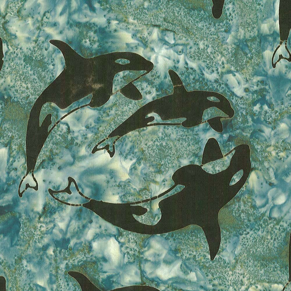 Orca Family - Ocean Green by Shania Sunga for Cantik Batiks