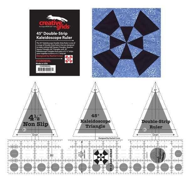 Creative Grids Ruler - 45 Degree Double Strip Kalidiscope