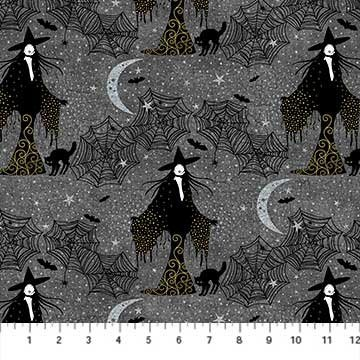 Elegantly Frightful - Witch and Cat Glitter by Northcott