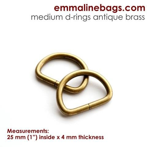 D-Rings: 1 (38 mm) in Antique Brass (4 Pack)