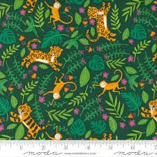 Jungle Paradise - Palm Green Tigers by Stacey Iest Hsu for Moda