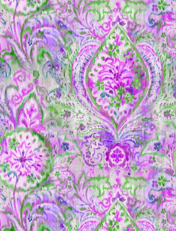 Bohemian Dreams - Green/Purple by Danhui Nai for Wilmington Prints