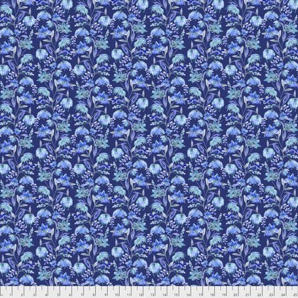 Peacock Paradise - Blue Flowers  by Corinne Haig for Free Spirit -  30% OFF