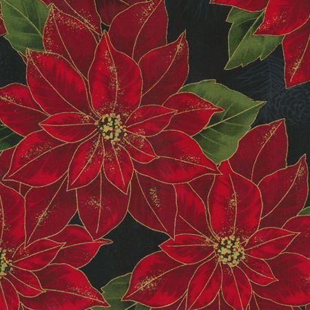 Joyful Traditions - Pointsettas Black/Gold by Hoffman