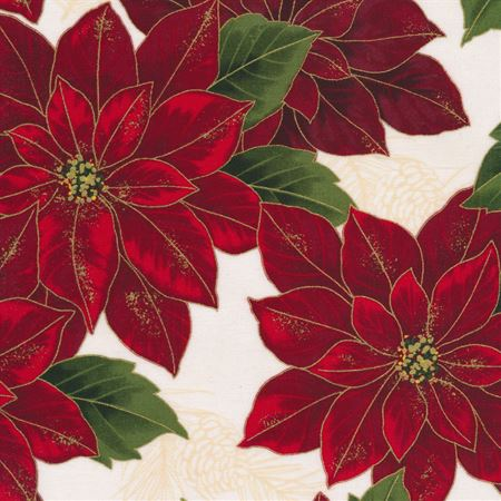 Joyful Traditions - Pointsettas on Natural with Gold By Hoffman