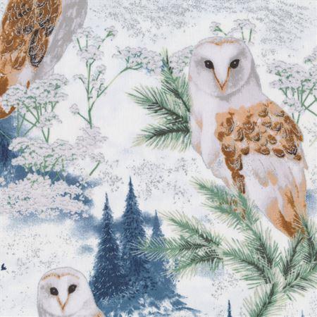 Perch - Dusty Blue/Silver Owls by Hoffman