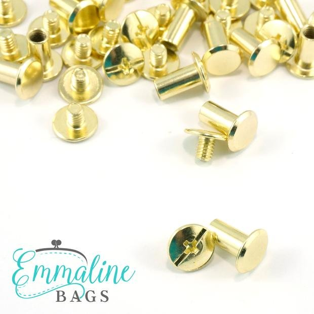 Chicago Screws: Large Size (1/4 or 6 mm) in Gold (50 Pack)