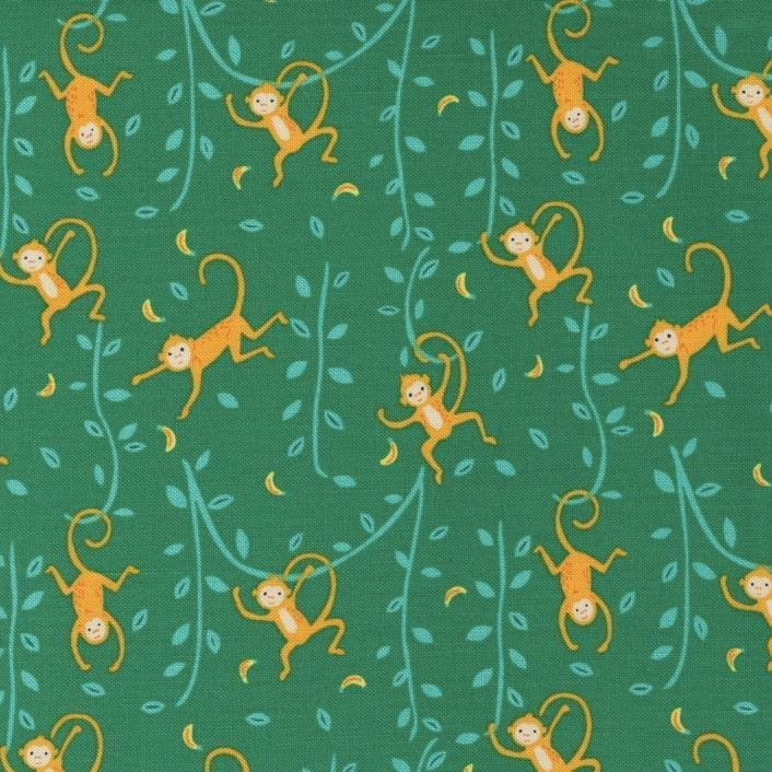 Jungle Paradise - Green Monkeys by Stacey Iest Hsu for Moda