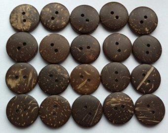 Coconut Shell Buttons 25mm - Single