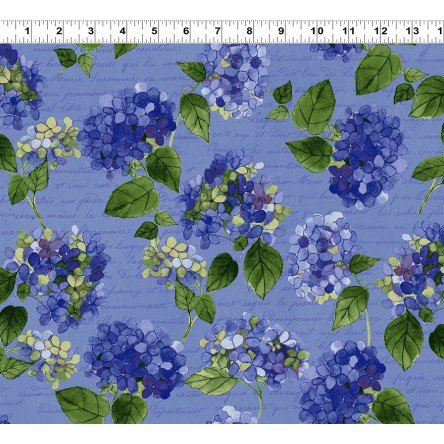 Heavenly Hydrengeas - Denim Large Floral - Sue Zipkin