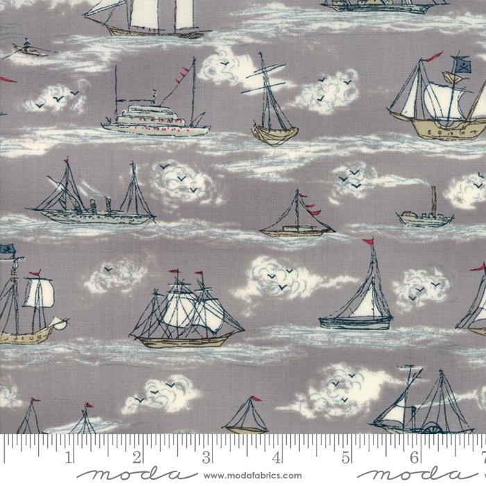 Ahoy Me Hearties - Busy Ships Pebble - by Janet Clare for Moda -- 30% OFF