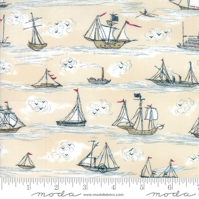 Ahoy Me Hearties - Busy Ships Pearl - by Janet Clare for Moda 30% Off