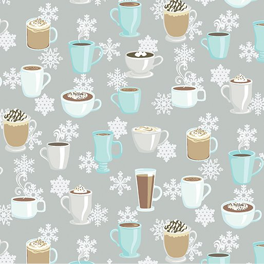 Winter Games - Grey Hot Chocolate - By Contempo Studio For Benartex -- 30% OFF!