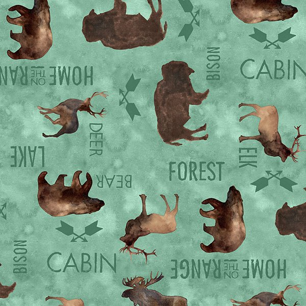 At The Lodge - Flannel Bison Bear Teal - Wilmington Prints 50% OFF!