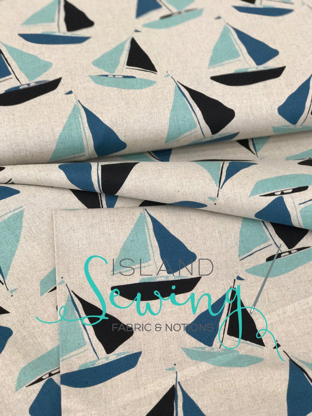 Tidal Wave Linen by Andover - Sail Boats -- 30% OFF!!