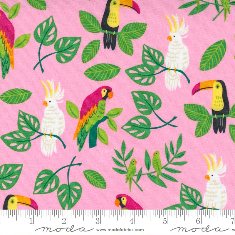 Jungle Paradise - Pink Birds by Stacey Iest Hsu for Moda