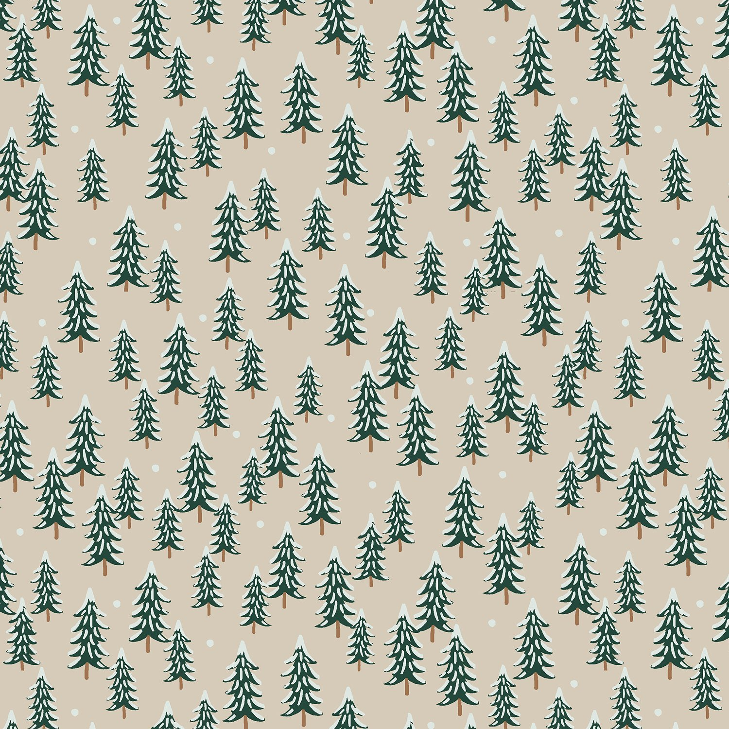 Holiday Classics - Trees on Linen by Rifle Paper Co for Cotton & Steel