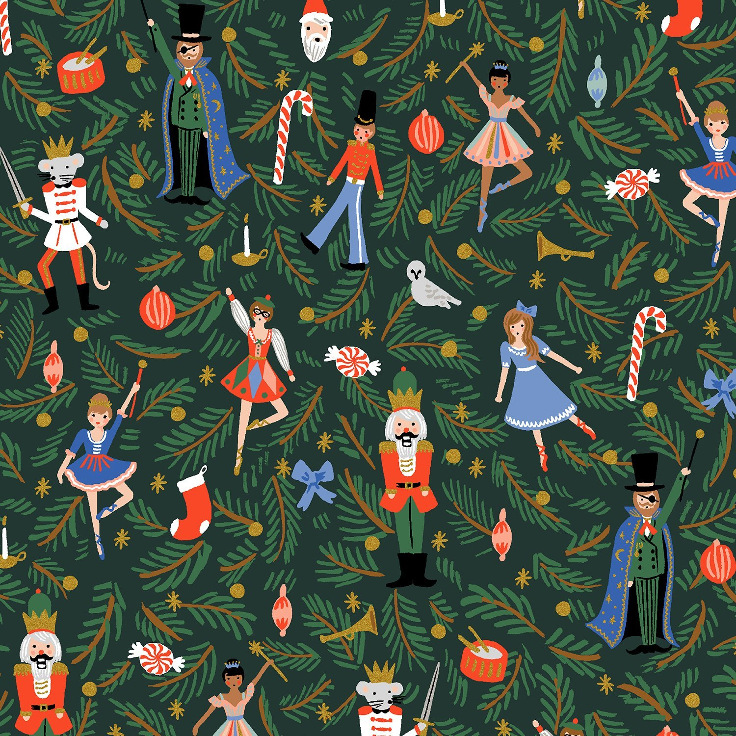 Holiday Classics - Evergreen Metallic Figures by Rifle Paper Co for Cotton & Steel