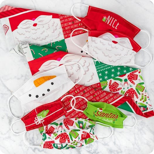 Safety First Holiday Mask Panel by Stacey Iest Hsu for Moda 24