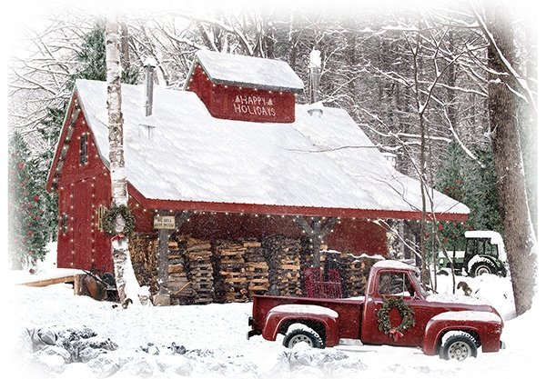 Home for The Holidays - Red Truck Panel by Hoffman