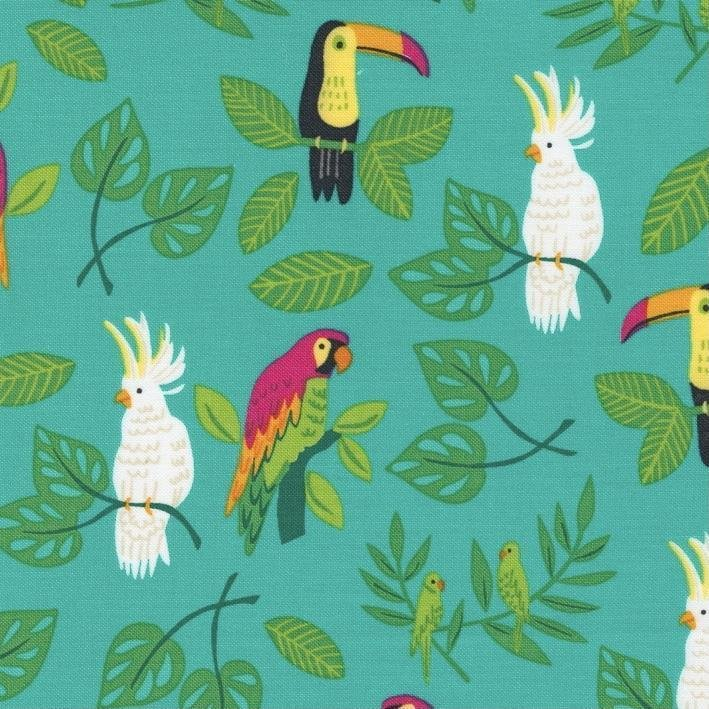 Jungle Paradise - Teal Birds by Stacey Iest Hsu for Moda