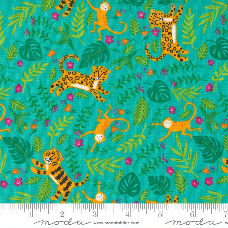 Jungle Paradise - Teal Tigers by Stacey Iest Hsu for Moda